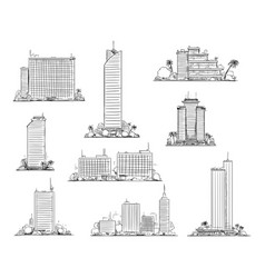 set modern city buildings and skyscrapers hand vector image