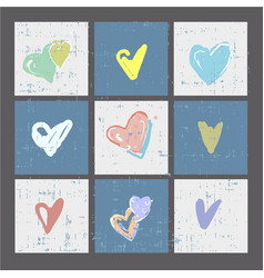 Set of grunge hearts cards or prints poster vector