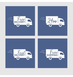 Set of icons with delivery car on square vector image