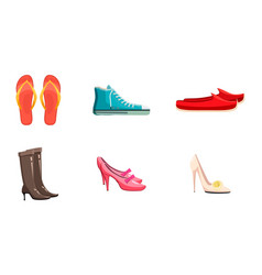 Shoes icon set cartoon style vector