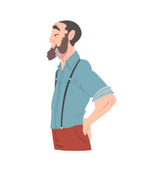 side view mature bearded man dressed in casual vector image