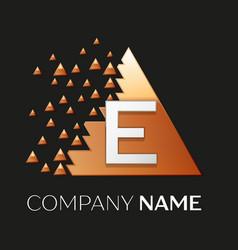 Silver letter e logo symbol in the triangle shape vector