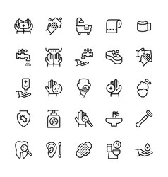 simple icon set hygiene items in thin line vector image