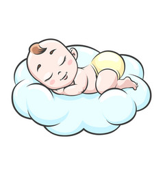 Sleeping baby on cloud vector