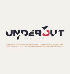 Sliced sans serif alphabet cut font vector