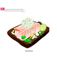 Smorrebrod with white fish the national dish of l vector