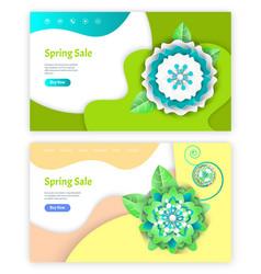 spring sale website paper cut of flower vector image