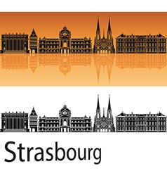 Strasbourg skyline in orange background vector