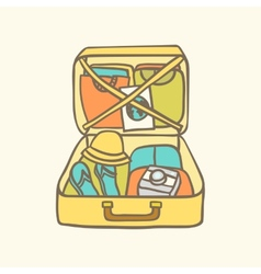 Suitcase with clothes flip flops camera and vector