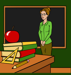 teacher woman in classroom cartoon vector image