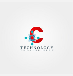 technology icon template with c letter creative vector image