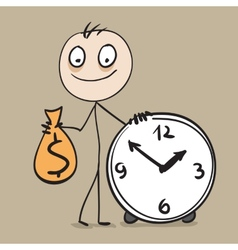 Time is money Man holding bag of money and hours vector