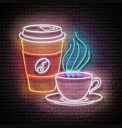 vintage glow signboard with a cup different vector image