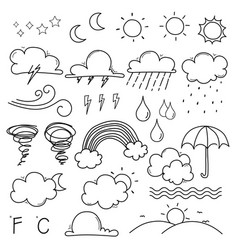 weather doodle set vector image