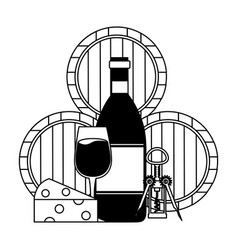wine bottle cup cheese corkscrew and barrel vector image