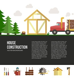 Wooden house building vector