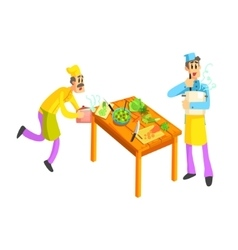 Young And Old Cook In Kitchen vector