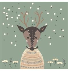 a deer in sweater vector image vector image