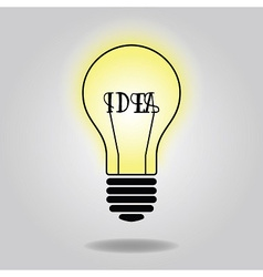 Abstract single lit up bulb icon with idea concept vector