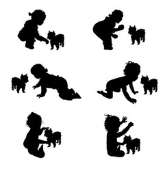 Child silhouette with dog silhouette in black vector