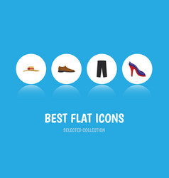 flat icon clothes set of heeled shoe male vector image