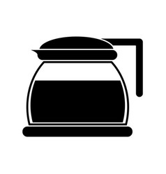 Glass pot with coffee pictogram vector