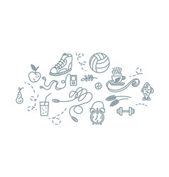 hand drawn sport equipment icons vector image vector image