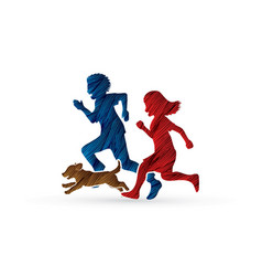 Little boy and girl running together with a dog vector