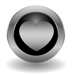 Metallic heart button vector image vector image