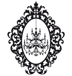 picture frame with antique chandelier vector image vector image