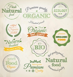 Retro styled organic labels vector image vector image