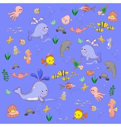 Cartoon set with sea live vector image vector image