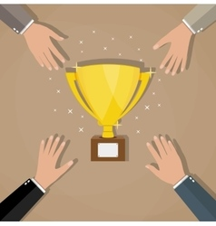 Competition between businessmans for golden trophy vector image vector image