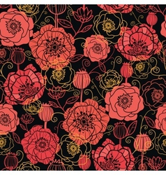 Red and black poppy flowers seamless pattern vector image vector image