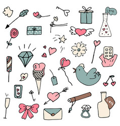 Set of valentine icons in doodle style vector