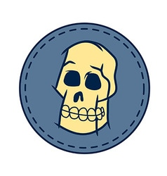Skull And Circle Patch In Retro Color vector image vector image