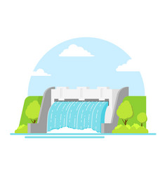 cartoon hydroelectric station on a landscape vector image vector image