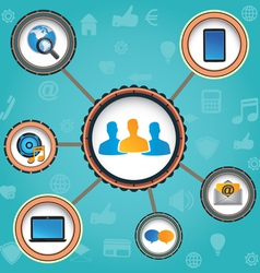 Concept of social media with background vector image vector image