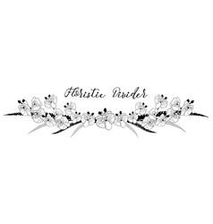 delicate floral text divider orchid flower design vector image