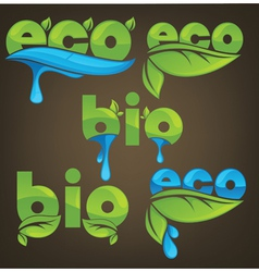 eco and bio ecological letters vector image vector image