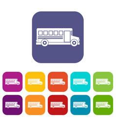 school bus icons set flat vector image vector image