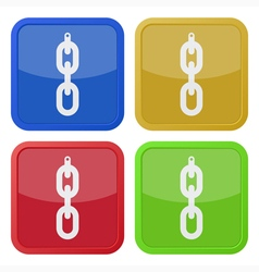 set of four square icons - hanging chain with hole vector image