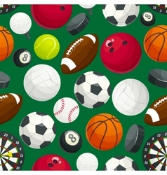 Sport balls and equipment seamless pattern vector image