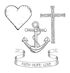 Symbols for faith hope and love vector image vector image