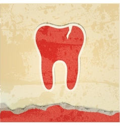 tooth with a crack retro poster vector image vector image