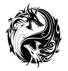 yin yang dragons vector image vector image