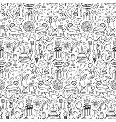 Happy birthday hand drawn seamless pattern vector image vector image