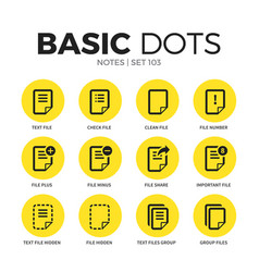 Notes flat icons set vector