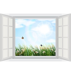 Open window with flowers and butterfly vector image