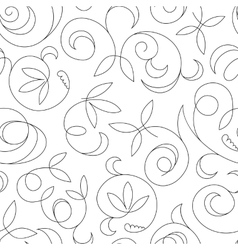 seamless abstract black floral background isolated vector image vector image